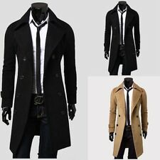 Stylish Mens Winter Slim Long Jacket Coat Parka Double Breasted Trench Overcoat