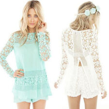Sexy New Womens Ladies Long Sleeve Floral Crochet Lace Tops Shirt Casual Blouse