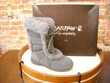 Bearpaw Alyssia Gray Suede & Sheepskin Trim Lace up Boot NEW