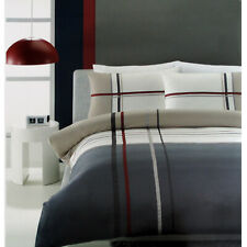 MANUEL Latte Cream Grey Grosgrain Quilt Doona Duvet Cover Set - QUEEN KING