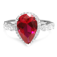 Luxury 4ct Pigeon Blood Red Ruby Ring 925 Sterling Silver Size 6 7 8 9