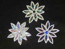 Christmas Gift Snowflake Clear & AB Iridescent Rhinestone Crystal Brooch Pin