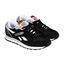 Reebok Mens GL 2620 Black White Suede Nylon Lace Up Sneakers Shoes