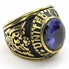 Mens CZ Stainless Steel Ring, Eagle Hawk US ARMY, Blue Gold