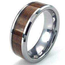 Mens Tungsten Ring, 8mm Wood Grain Band, Brown Silver