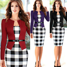 Women's Long Sleeve Slim Plaid Bodycon Cocktail Party Evening Pencil OL Dress