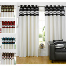 Just Contempo Sale – Modern Ring Top Fully Lined Curtains with Pleated Stripes