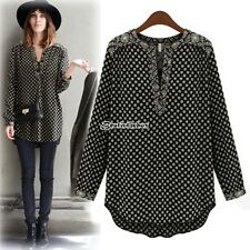 Women Lady Vintage Slim Fit Casual Polka Dot Crew Neck Blouse Top Shirt