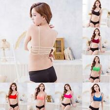 Women's Sexy Ladies Colorful Hollow Back Crop Tops Straps Camisole Bras Tops
