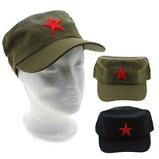 Unisex Chinese Military Soldier Red Star Pattern Flat Top Cotton Fabric Cap Hat