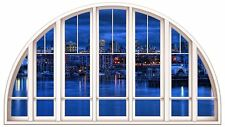 Huge 3D Arched Window Enchanted River City View Wall Stickers Film Art Decal