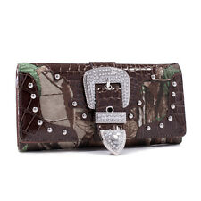 Women Leather Purse Rhinestone Buckle Tri-fold Western Wallet Checkbook Studded