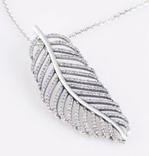 Sterling Silver 925 Necklace Pendant Light As A Feather w/ Clear CZs 88700