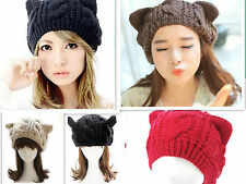 lady's Cat Ear Devil Horn Warm Winter Crochet Wool Braided Knit Ski Beanie Hat