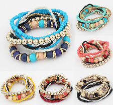 Fashion Women Stylist Bohemian Multilayer Acrylic Beads Bracelet Bangle Gift New