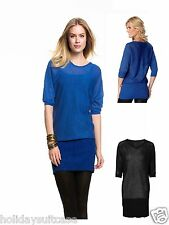 NEW WOMANS LADIES SEXY LONG PARTY TUNIC TOP BLUE OR BLACK PLUS SIZE 18-28 UK