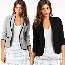 Fashion Women Ladies Casual Blazer Short Office Cardigan Button Jacket Suit Coat