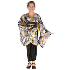 CHILD BLACK AND GOLD GEISHA GIRL CHINESE FANCY DRESS COSTUME