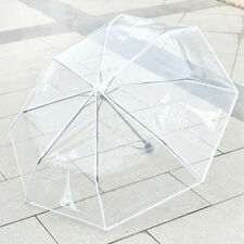 Women New Fashion  Umbrella 3 Folding Umbrellas Transparent Rain Parasol KT0009