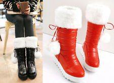 Hot Sale Fashion Womens mid calf boots Warm Soft Fur Lined Pom-pom pull on shoes