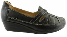CUSHION COMFORT CARIE WOMENS/LADIES WEDGE COMFORT SHOES/CASUALS/SLIP ONS