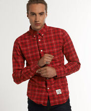 New Mens Superdry Oxford Check Shirt Edinburgh Check Red W1