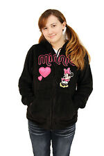 Disney Minnie Mouse Soft Fleece Black Pink Heart Zip Hoodie Sweatshirt Jacket