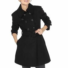 Women's Classic Trench Coat Double Breasted Removable Belt Wool Pleated Jacket
