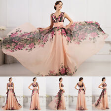 VICTORIAN Masquerade 1950s Chiffon Long V Neck Flower Ball Banquet Evening Dress