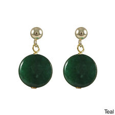 Sterling Silver Children's Jade Faceted Coin Stone Earrings