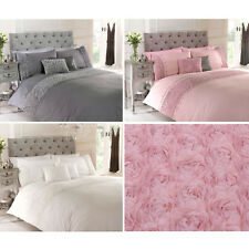 Rose Floral Ruffle Duvet Quilt Cover – Vintage Chic Bedding Set + Pillow Cases