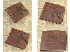 Mens Leather Pockets Card Clutch Cente Bifold Purse Money Clip Cad Holder Wallet