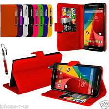 FLIP WALLET STAND LEATHER CASE COVER For MOTO G 2ND GEN G2 (2014)