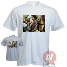 Jesus On A Dinosaur T Rex Urban Art Graffiti Direct To Garment Printed Shirt