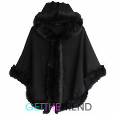 Womens Fur Lined Hooded Cape Ladies Black Winter Overall Coat Poncho Jacket