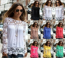 New Womens Ladies Long Sleeve Embroidery Lace Tops Chiffon Shirt Blouse UK 4-22