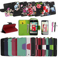 LG Ultimate 2 L41C PU Clasp Card  Leather Flip Stand Wallet Pouch Case Cover