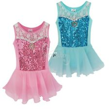 Girls Party Leotard Ballet Tutu Costume Dance Wear Dress Kids Lace Skate Skirt