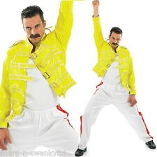 Mens 1980s 80s Freddie Mercury Queen Fancy Dress Costume Outfit Medium Large XL