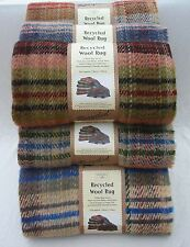 Recycled all wool SMALL picnic rug blanket throw - random check BRITISH MADE