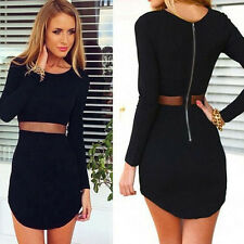 Sexy Women Lady Bodycon Long sleeve Slim Cocktail Party Short Mini Black Dress A