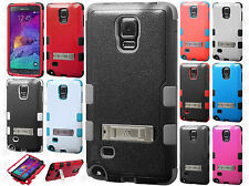 For Samsung Galaxy Note 4  Rubber IMPACT TUFF HYBRID KICK STAND Case Phone Cover