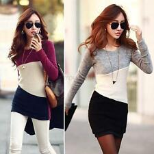 Women Winter Long Sleeve Knitted Jumper Sweater Tops Pullover Bodycon Mini Dress