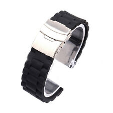 Mens Silicone Rubber Watch Strap Band Waterproof with Deployment Clasp