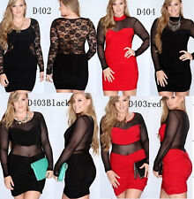 PLUS SIZE Sexy Lingere Long sleeve Hollow out Women's Sexy Club dress 4SZ 3style