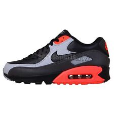 Nike Air Max 90 LTR Leather Black Grey Crimson 2014 Mens Running Shoes Sneakers