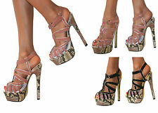 LADIES DOLCIS BLACK NUDE PLATFORM PEEP TOE STILETTO HIGH HEELS SHOE SANDAL PROM