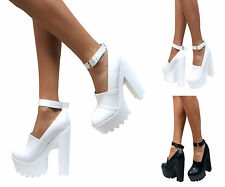 LADIES WOMENS CLEATED SOLE CHUNKY BLOCK HIGH HEELS ANKLE STRAP GEEK SHOES SIZE