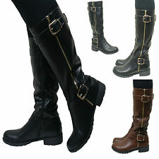 Womens Knee High Flat Low Chunky Heel Wide Fit Biker Riding Leather Style Boots