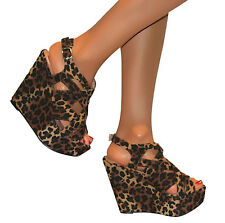 WOMENS LEOPARD PLATFORM CHUNKY HIGH HEEL STRAPPY WEDGES PEEP TOE SHOES SANDALS